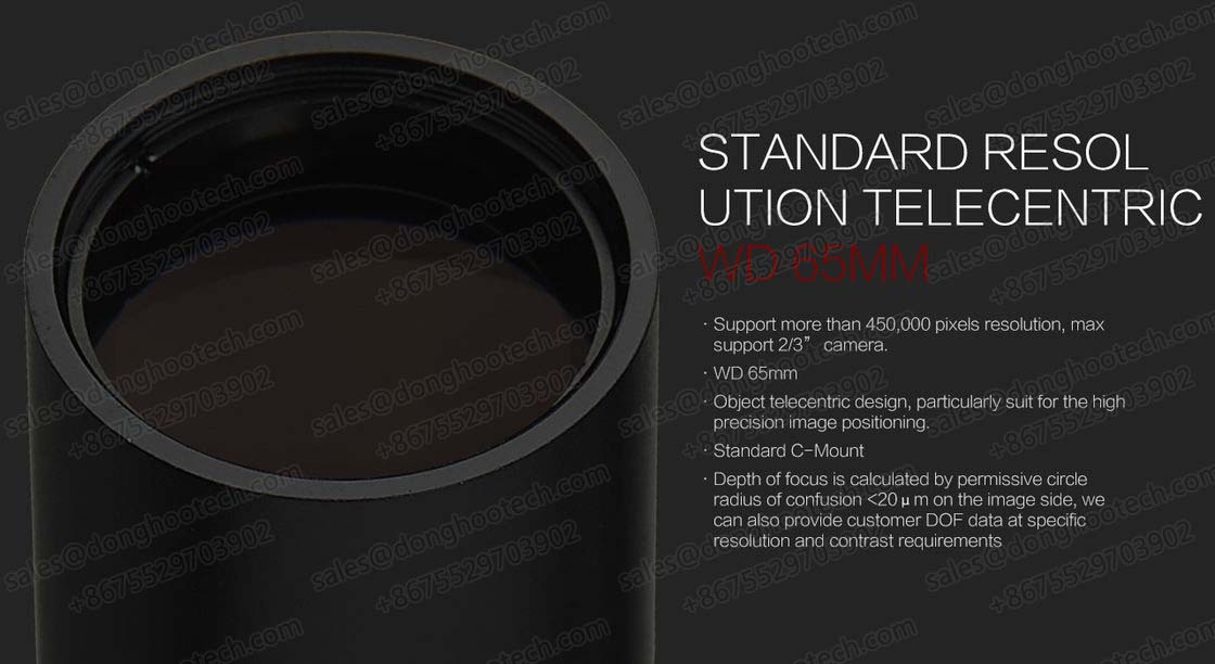 Long Life Span Optical Lens / Telecentric Scanning Lens WD 65MM for Machine Vision